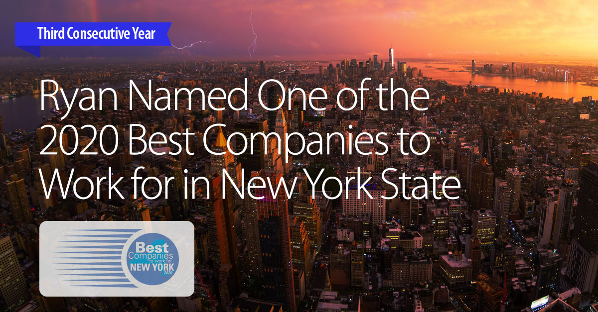 Ryan Named One of the 2020 Best Companies to Work for in New York State