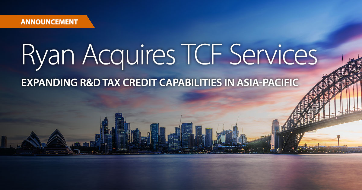 Ryan Acquires Leading R&D Tax Credits Firm, TCF Services, in Australia